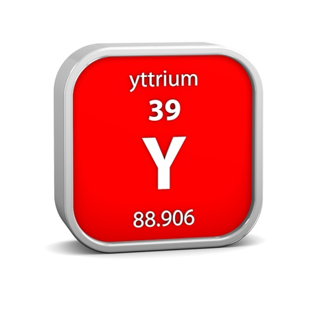 Yttrium material on the periodic table. Part of a series. photo
