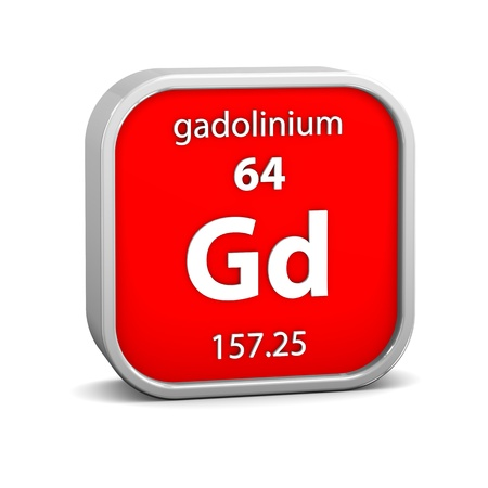 affinity: Gadolinium material on the periodic table. Part of a series. Stock Photo