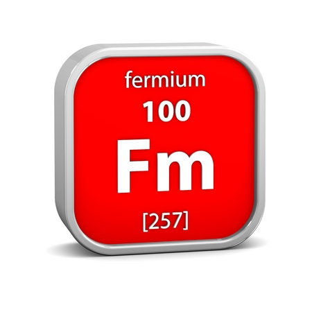 periodic element: Fermium material on the periodic table. Part of a series. Stock Photo