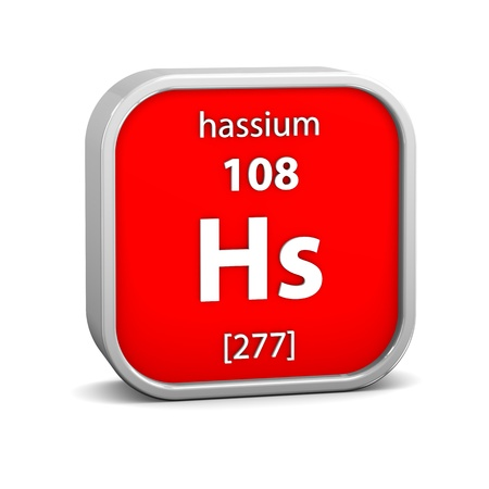 Hassium material on the periodic table. Part of a series. Stock Photo - 19569258