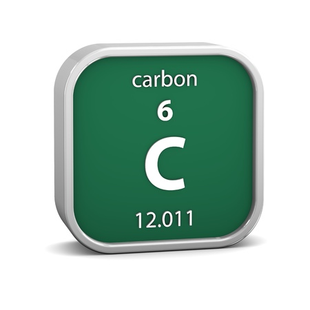 Carbon material on the periodic table. Part of a series. photo