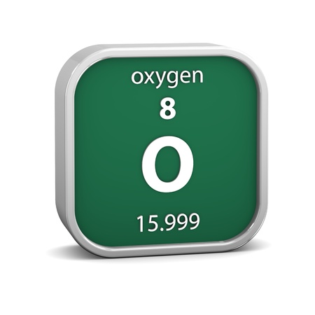 Oxygen material on the periodic table. Part of a series. photo
