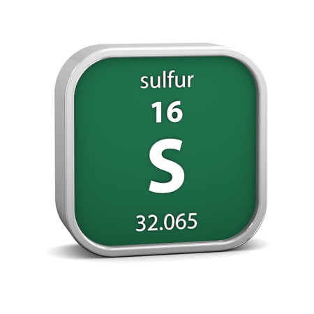 Sulfur material on the periodic table. Part of a series. photo