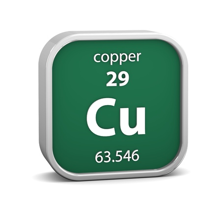 periodic: Copper material on the periodic table  Part of a series  Stock Photo