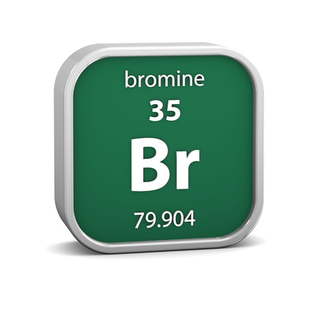 affinity: Bromine material on the periodic table  Part of a series  Stock Photo