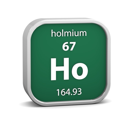 Holmium material on the periodic table. Part of a series. photo