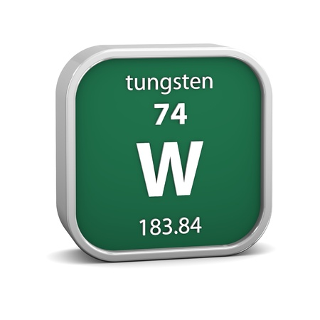Tungsten material on the periodic table. Part of a series. photo