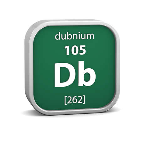 periodic table of the elements: Dubnium material on the periodic table. Part of a series. Stock Photo