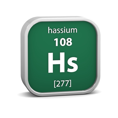Hassium material on the periodic table. Part of a series. Stock Photo - 19745032