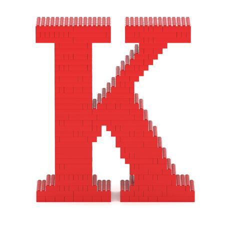 Letter K built from red toy bricks photo