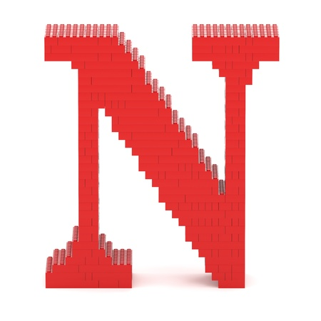letter n: Letter N built from red toy bricks