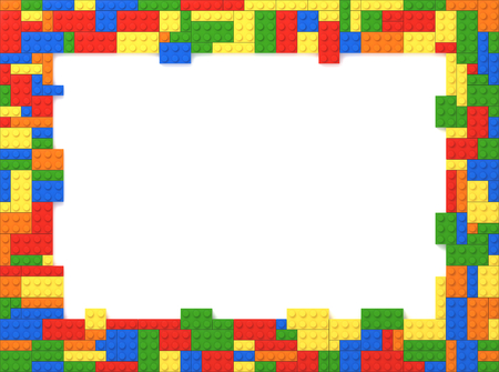 Zufällige Farben Toy Bricks Bilderrahmen mit weißem Hintergrund Standard-Bild - 23073615