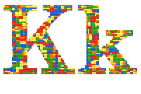 Lettera K costruito da colori casuali mattoncini giocattolo
