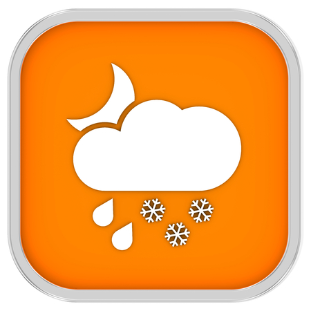 considerable: Cloudy at night with considerable amount of rain and snow sign on a white background. Part of a series.