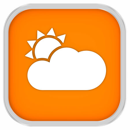 partly: Mainly clear or partly cloudy with sunny intervals sign on a white background. Part of a series. Stock Photo