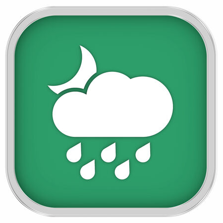 considerable: Cloudy at night with considerable amount of rain sign on a white background. Part of a series.  Stock Photo