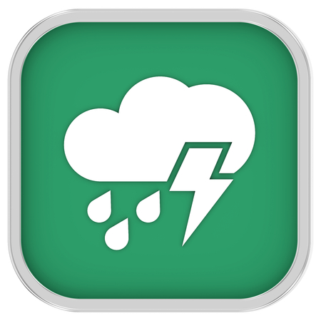 considerable: Mainly cloudy with considerable amount of rain and possibility of lightning sign on a white background. Part of a series.  Stock Photo