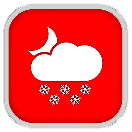 hard rain: Partly to mainly cloudy with considerable amount of snow at night sign on a white background. Part of a series. Stock Photo