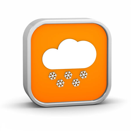 hard rain: Partly to mainly cloudy with considerable amount of snow sign on a white background. Stock Photo