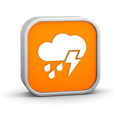 considerable: Mainly cloudy with considerable amount of rain and possibility of lightning sign on a white background. Stock Photo