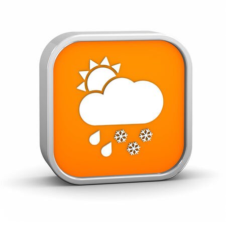 considerable: Mainly cloudy with considerable amount of rain and snow sign on a white background.