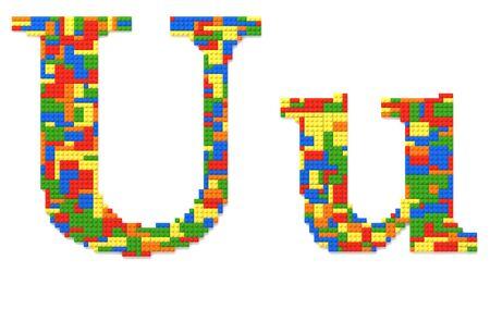 Letter U built from random colors toy bricks photo