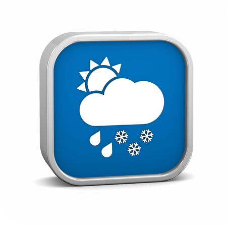 considerable: Mainly cloudy with considerable amount of rain and snow sign on a white background. Part of a series.