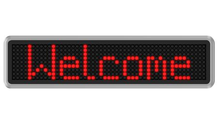 display: Red led dot display with welcome text message over a white background. Part of a series. Stock Photo