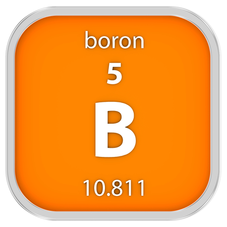 boron: Boron material on the periodic table. Part of a series. Stock Photo