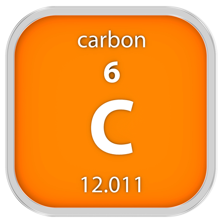 Carbon Symbol In Square Shape With Metallic Border And Transparent