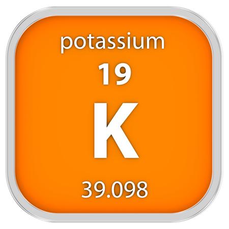 Material de potasio en la tabla periódica. Parte de una serie. Foto de archivo - 39444448