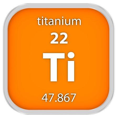 titanium: Titanium material on the periodic table. Part of a series.