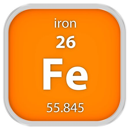 electrons: Iron material on the periodic table. Part of a series.