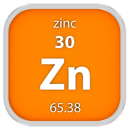 affinity: Zinc material on the periodic table. Part of a series. Stock Photo