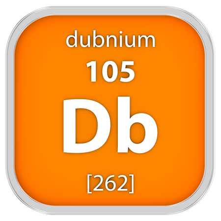 affinity: Dubnium material on the periodic table. Part of a series. Stock Photo