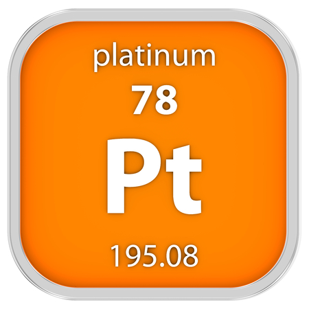 Platinum material on the periodic table. Part of a series. photo