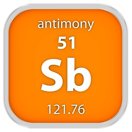 affinity: Antimony material on the periodic table. Part of a series. Stock Photo