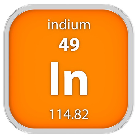 affinity: Indium material on the periodic table. Part of a series. Stock Photo