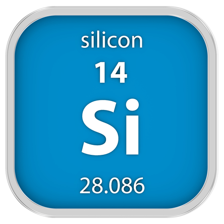 silicio: Material de silicio en la tabla periódica. Parte de una serie.