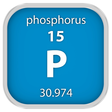 phosphorus: Phosphorus material on the periodic table. Part of a series. Stock Photo