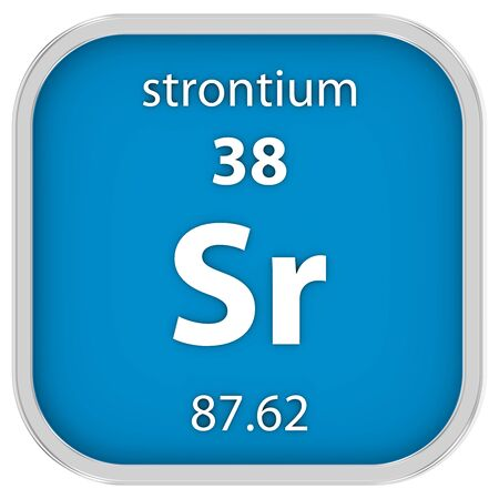 strontium: Strontium material on the periodic table. Part of a series. Stock Photo