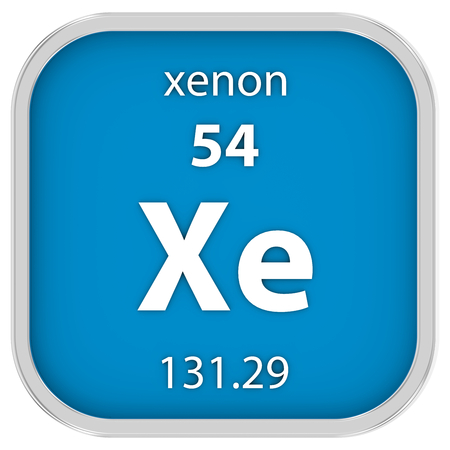 xenon: Xenon material on the periodic table. Part of a series. Stock Photo