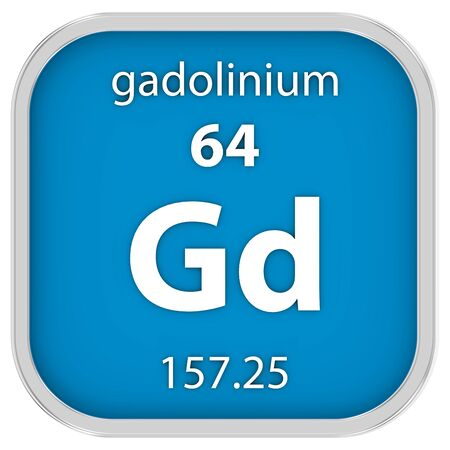 Gadolinium material on the periodic table. Part of a series. photo