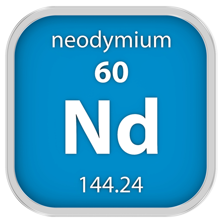affinity: Neodymium material on the periodic table. Part of a series.