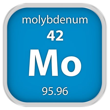 Molybdenum material on the periodic table. Part of a series. photo