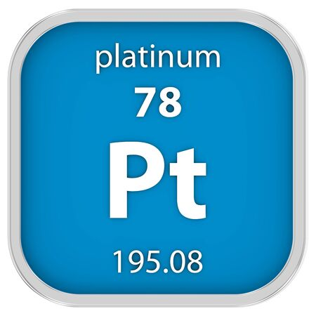 platinum: Platinum material on the periodic table. Part of a series. Stock Photo