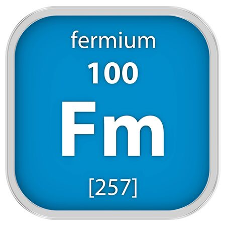 affinity: Fermium material on the periodic table. Part of a series. Stock Photo