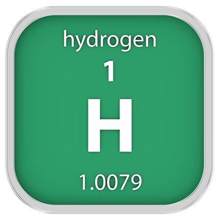 Hydrogen material on the periodic table Stock Photo