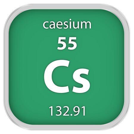 caesium: Caesium material on the periodic table Stock Photo
