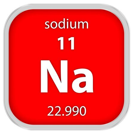 sodium: Sodium material on the periodic table Stock Photo